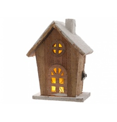 LED Wooden House, 20cm