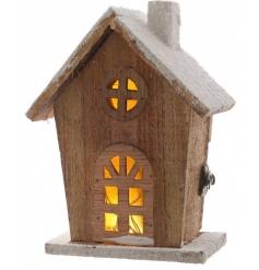 LED Wooden House, 20cm