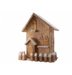 Light up wooden house with snow effect