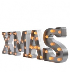 Warm white clear LED bulbs, 8 bulbs per letter