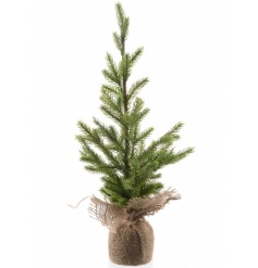 XL table top artificial Christmas tree with jute wrapped base