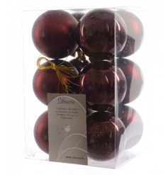 A pack of 12 marsala coloured baubles in matt and shiny finishes.
