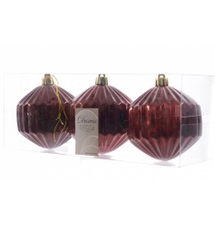 Shatterproof pack of 3 geometric shaped baubles in a deep red colour