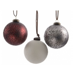 3 assorted textured glass baubles with suede ribbon to hang.