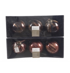 On trend marble finish baubles in bronze, copper and red hues.