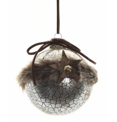 A unique and stylish silver bauble with fur trim, star and suede bow.