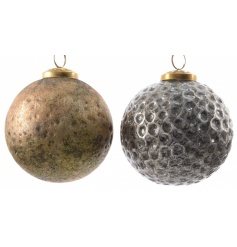A mix of highly textured glass baubles in on trend rustic gold and silver colours.