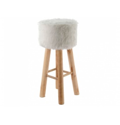A beautiful and stylish wooden stool with a faux fur seat.