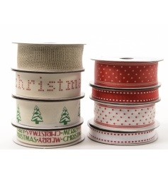A festive array of 8 different styled ribbons