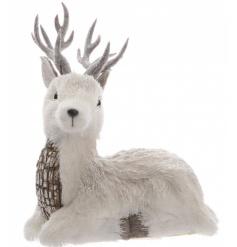 White Glitter Reindeer, 18cm