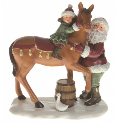 Santa, Horse & Child Ornament 15cm