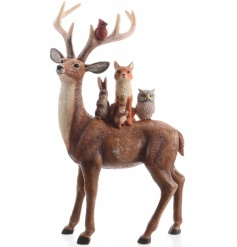 Add some whimsical woodland charm to your home this season with this enchanting reindeer and friends ornament.
