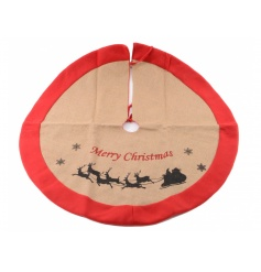 A large natural tree skirt with with red trim and santa sleigh silhouette.