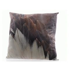 A beautifully soft and super stylish feather print cushion in rich purple and copper colours.