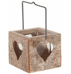 Wooden candle holder birch design with glass insert and handle