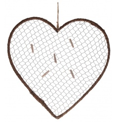 A rustic style heart memo board with mesh wire and pegs.