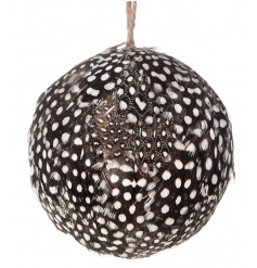 A chic black and white feather bauble.