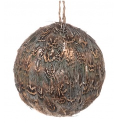 Add that wow factor to the festive tree with this elegant feather bauble in natural tones.
