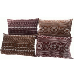 4 assorted richly coloured ikat print cushions in ochre yellow and masala red hues.