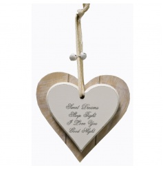 Popular Sweet Dreams quote on a chic wooden heart plaque
