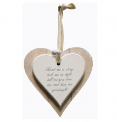 A chic wooden heart plaque with popular Story slogan