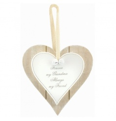 A chic wooden heart plaque with popular Grandma text