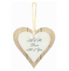 A chic wooden heart plaque with cute Love quote