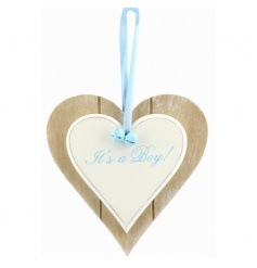 Its a boy blue text on a double wooden heart plaque