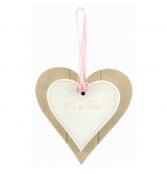 A double heart wooden plaque with pink girl text