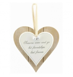 Popular Friendship quote on a double heart wooden plaque