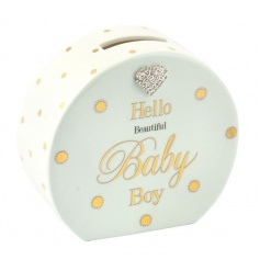Ceramic baby blue money box from the Mad Dots collection