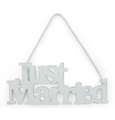 Shabby chic white hanging Just Married sign