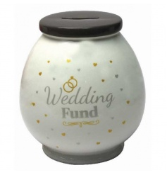 A pot money box with Wedding Fund text and design