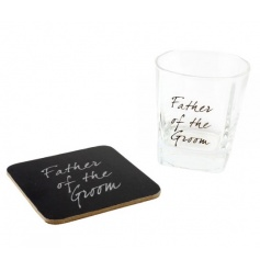 Whiskey glass and coaster set with father of the groom text