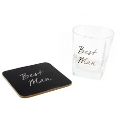 Clear whiskey glass with matching coaster and Best man text