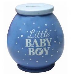 Cute little baby boy money box in blue