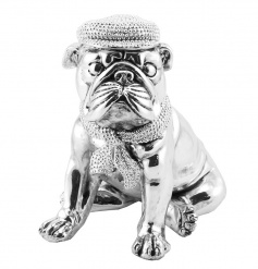 Sitting silver bulldog ornament from the Silver Art collection