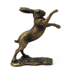 A stunning bronze hare decoration in a boxing pose. A stylish textured item and popular home accessory.