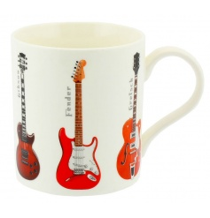 China mug with assorted guitar print