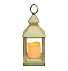 A super stylish flameless candle and cream/gold coloured lantern.