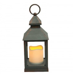 A super stylish flameless candle and copper/grey coloured lantern.