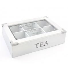 White tea box with a Shabby Chic print