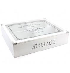 Wooden storage box with Shabby Chic original print