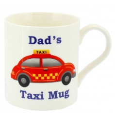 Bone china mug with Dads Taxi design and text