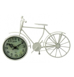 Rustic clock inside a cream bike ornament