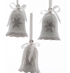 A mix of 3 shabby chic style ceramic bells with pretty snowflake details and ribbon bows.
