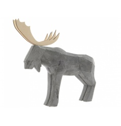 A stylish concrete deer ornament with contrasting wooden antlers.