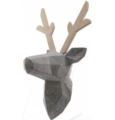 Make a statement with this on trend and unique concrete bust with wooden antlers.