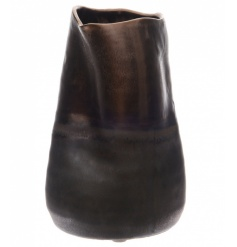 A beautifully crafted ceramic vase with a reactive bronze finish.