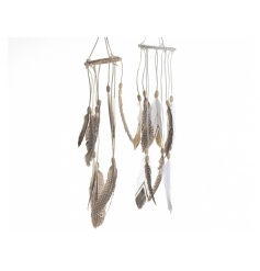 An assortment of 2 on trend feather wind chime decorations with beaded detailing.